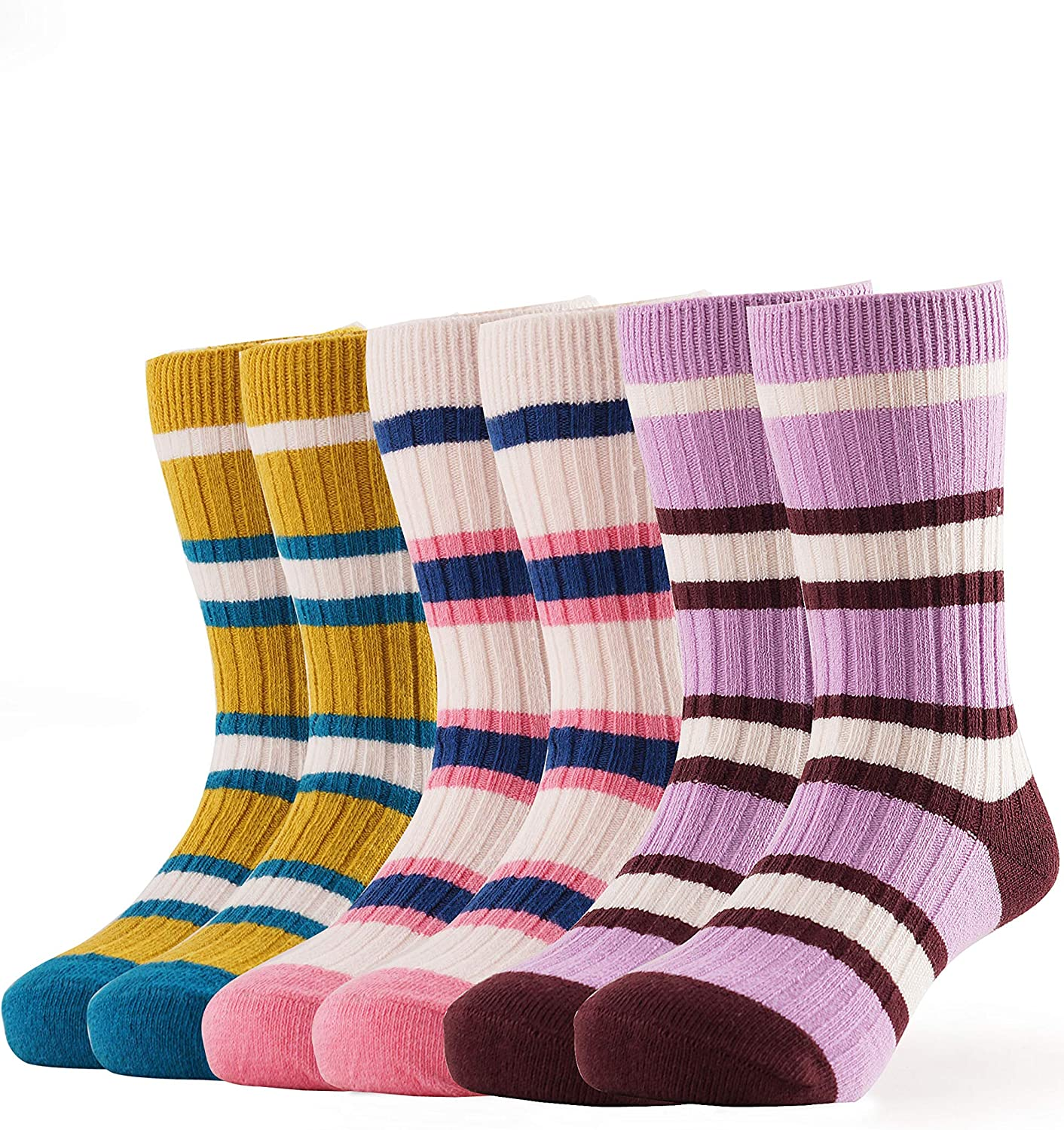 BabaMate Toddler Baby Little Kids Thick Warm Cotton Knit Winter Socks for Cold Weather 3 Pack Gifts