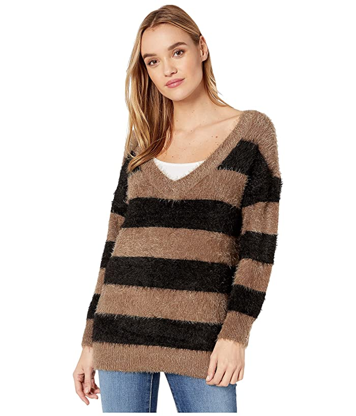 BB Dakota  Fuzzy Games Striped Eyelash V-Neck Tunic Sweater (Dusty Taupe) Womens Sweater