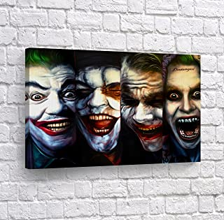 4 Joker Transformation Evolution Four of Kind Canvas Print Wall Art Vector Digital Painting Decorative Home Decor Poster Artwork Framed and Stretched- Ready to Hang -%100 Handmade in The USA - 24x36