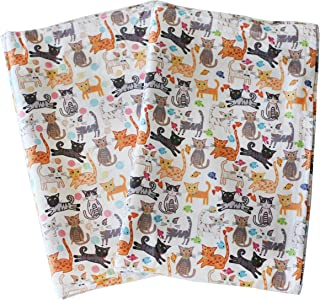 Sunshine Vibes Cat Tea Towels Set of 2 100% Cotton cat Lover Pattern with Hanging Loop; to Tackle All of Your Drying, Wiping and Cleaning Kitchen tasks for cat Lover!