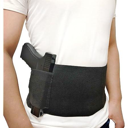 DecoDeco Fondina Pistola per Banda di Belly per Nascosto Belly Band Holster Elastica Airsoft Revolver, M/L