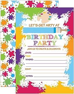 Paint Art Party Invitation, Craft Art Paint Party Invites, 20 Fill In Paint Party Invitations With Envelopes