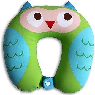Nido Nest 兒童旅行頸枕 適合兒童 – 飛機、汽車、公路旅行、睡覺、睡覺、禮物 – 幼兒、學齡前兒童、初學期兒童及初學期兒童 貓頭鷹 NN-TZ-03