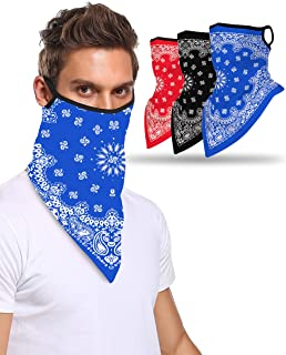 Multi-Pack Bandana with Ear Loops Neck Gaiter Face Cover for Men Women and Kids