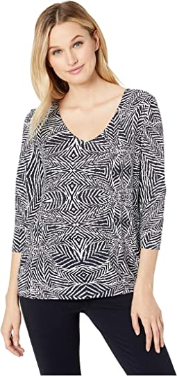 3/4 Sleeve V-Neck Printed Jersey Top