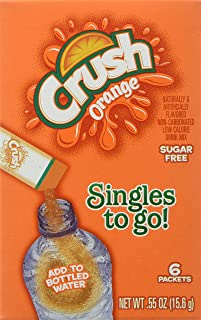 Crush Singles To Go Powder Packets, Water Drink Mix, Orange, Non-Carbonated, Sugar Free Sticks (12 Boxes with 6 Packets Ea...