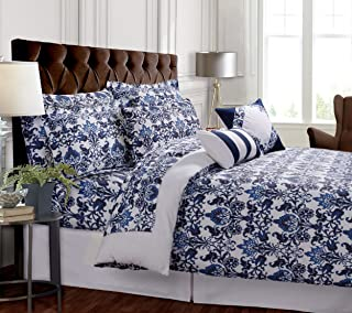 Tribeca Living Catalina 5-Piece Egyptian Cotton Percale Printed Duvet Cover Set King