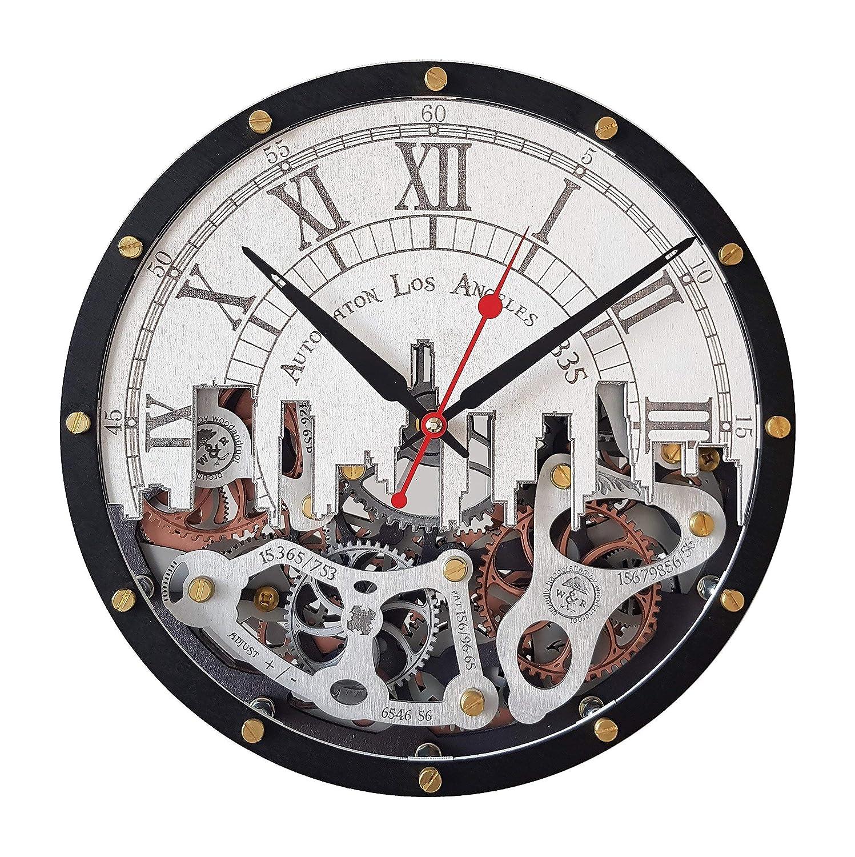 Automaton Los デポー 公式通販 Angeles city skyline Gears moving Hand clock wall
