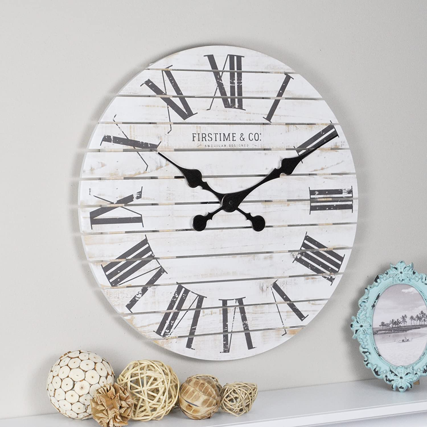 FirsTime 10066 Shiplap Wall Clock, White