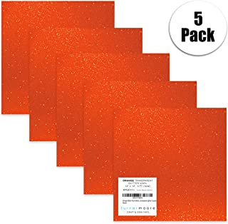 "Orange Glitter Vinyl Adhesive, 12"" x 12"" Transparent Glitter Vinyl Sheets for Maker Explore, Silhouette Cameo, Stickers, Windows, Glass by StyleTech x Turner Moore Edition (Orange Glitter, 5-pk)"