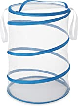 Whitmor Mesh Collapsible Hamper (White and Blue)