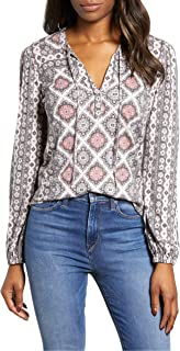 Lucky Brand womens PRINTED TOP WITH TASSLES IN MULTI Shirt