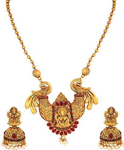 South Indian Temple Jewellery Laxmi Mala Matte Gold Traditional Pearl Jhumki Earrings Chain Pendant Necklace Jewellery Sets For Women Girls NL 385
