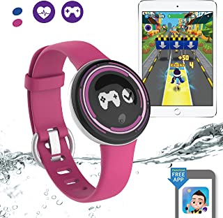 PAI TECHNOLOGY PaiBand Kids Activity Tracker IP67 Water Resistant Fitness Tracker as Step Counter Sleep Monitor Pedometer Smart Bracelet with Motion Sensor Game (Pink)