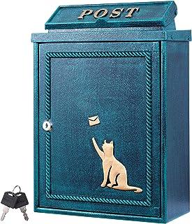 カバポスト 郵便ポスト 猫と手紙 アンティーク調ポスト 壁掛け 鍵付き A4対応
