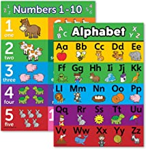 ABC Alphabet & Numbers 1-10 Poster Chart Set - Laminated - Double Sided (18x24)