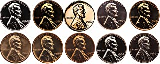 1960-1969 S Lincoln Memorial Cent Gem Proof & SMS Run 10 Coins US Mint Penny Lot Complete 1960's Set