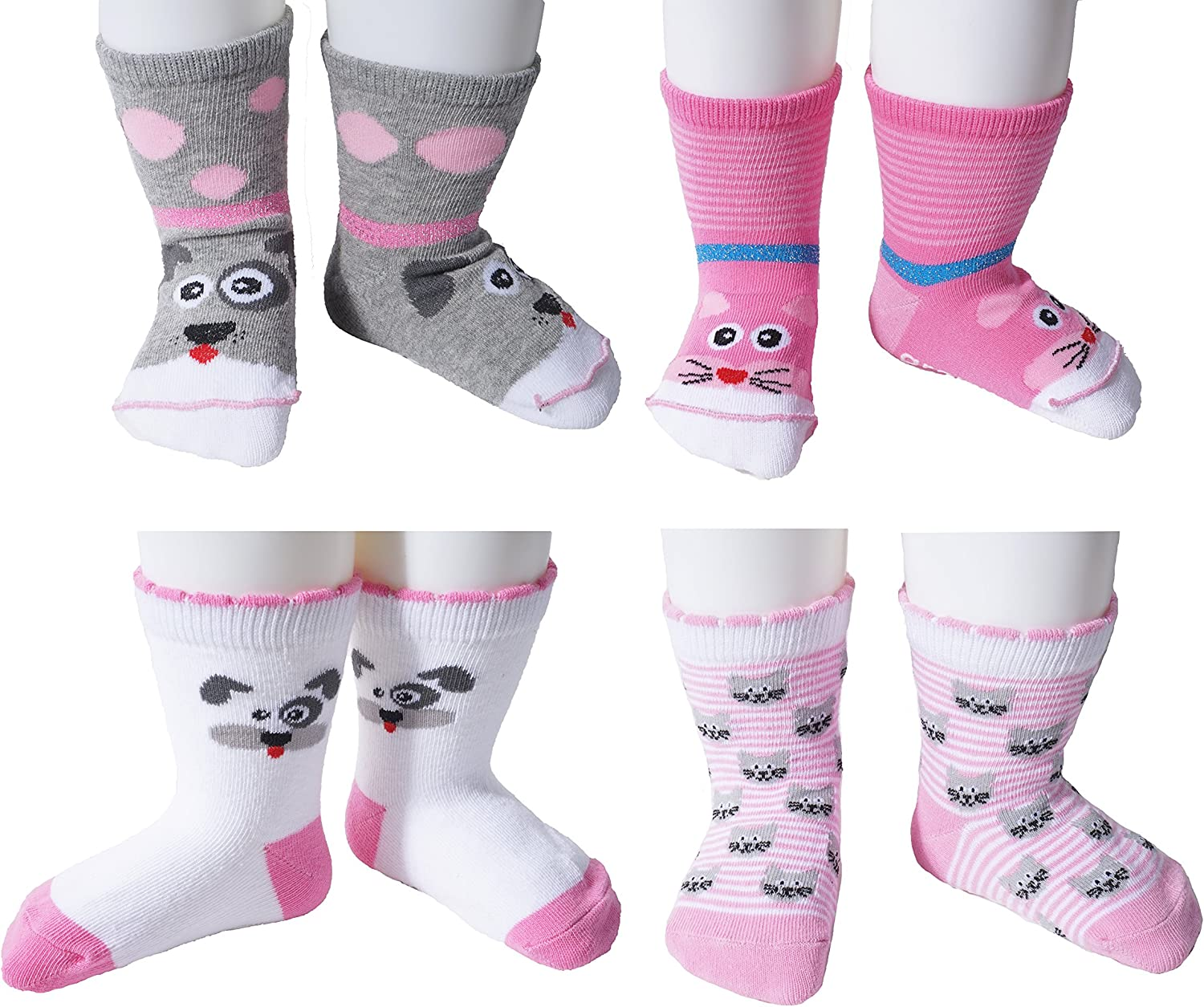 growbabygrow Boys & Girls Baby Toddler Kids Cotton Crew Socks with Grippers(12months~4years)