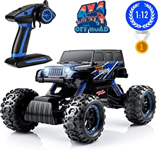 Remote Control Monster Trucks, PinSpace Electric RC Cars 1:12 Scale Off Road Truck with Full-Time 4-Wheel Drive System, 4 Shock Absorbers, Digital Controller for Kids Age 8 Years and Up