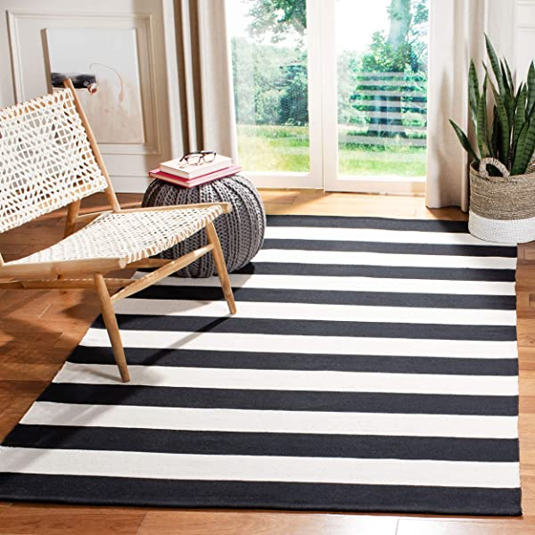 Safavieh Montauk Collection MTK712D Handmade Flatweave Black And Ivory Cotton Area Rug 8 X 10