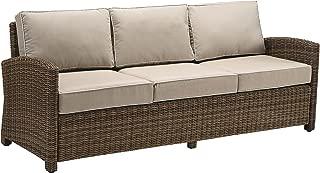 Crosley Furniture Bradenton Outdoor Wicker Patio Sofa with Cushions - Sand