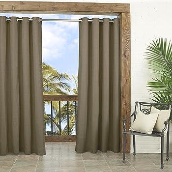 "PARASOL Outdoor Curtains for Patio-Key Largo 52"" x 84"" Thermal Insulated Darkening Single Panel Drape Blinds Backyard, Caramel"