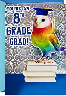 Hallmark 8th Grade Graduation Card (Rainbow Owl, Bright One)