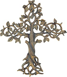 """Old River Outdoors Large 16"""" Tree of Life Wall Cross - Decorative Spiritual Art Sculpture Plaque"""