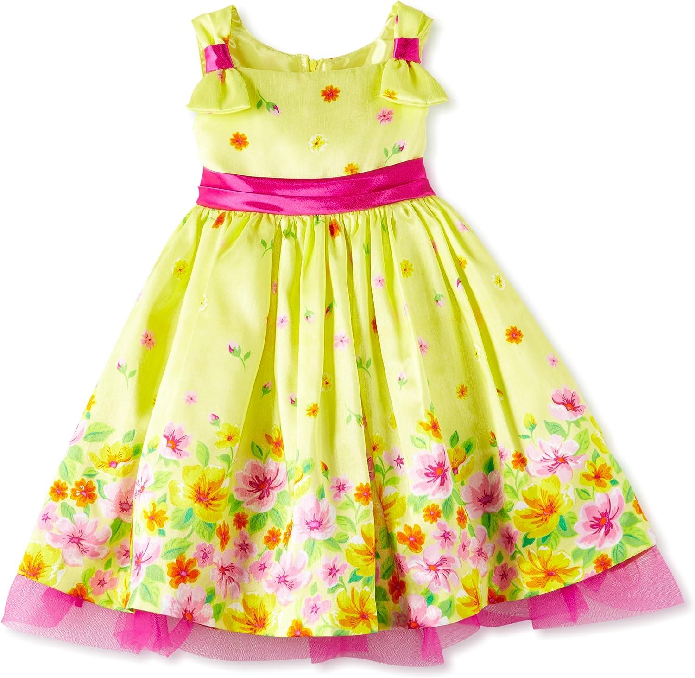 Young Hearts Little Girls' 1 Piece Flowers Woven Dress