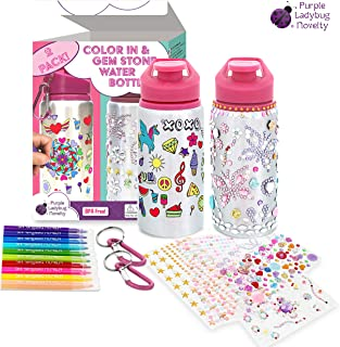 Two Water Bottles Set for Girls - Our Color Your Own Kids Water Bottle PLUS our Decorate Your Own Glitter Gem Water Bottle with Coloring Markers & Sheets of Rhinestone Stickers! Great Gifts for Girl