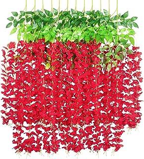 GPARK 12 Pieces (Each 45 inch) Wisteria Artificial Flower Bushy Silk Vine Ratta Hanging Garland Hanging for Wedding Party ...