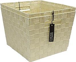 """One Design Designer Brand Set of 2 Nylon Strap Storage Bins with Lurex Detail (13"""" x 12"""" x 9.5"""") (Ivory)"""
