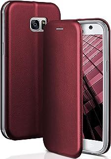 ONEFLOW Handyhülle kompatibel mit Samsung Galaxy S7   Hülle klappbar, Handytasche mit Kartenfach, Flip Case Call Funktion, Klapphülle in Leder Optik, Weinrot