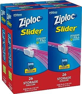 Ziploc Slider Storage Bags Gallon, 4 Pack, 26 Ct (104 Total Bags)