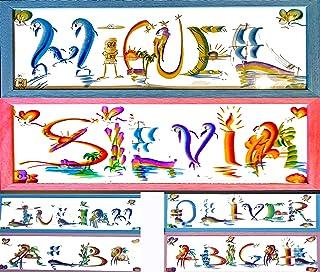 Nombre Personalizado Regalo Arcoiris colores papel brillante Placa de Letras Creativas Decoración de pared Cumpleaños Niño...