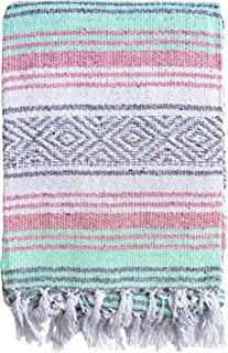 El Paso Designs Mexican Blanket Pastel Bloom Collection Yoga Classic Mexican Falsa Pattern Woven Throw 51in x 74in (Pink Mint and Gray)