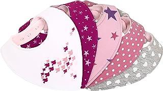 Bavaglini bandana bambina - super assorbenti e morbidi - per dentizione - doppio strato cotone jersey e pile - foulard tri...