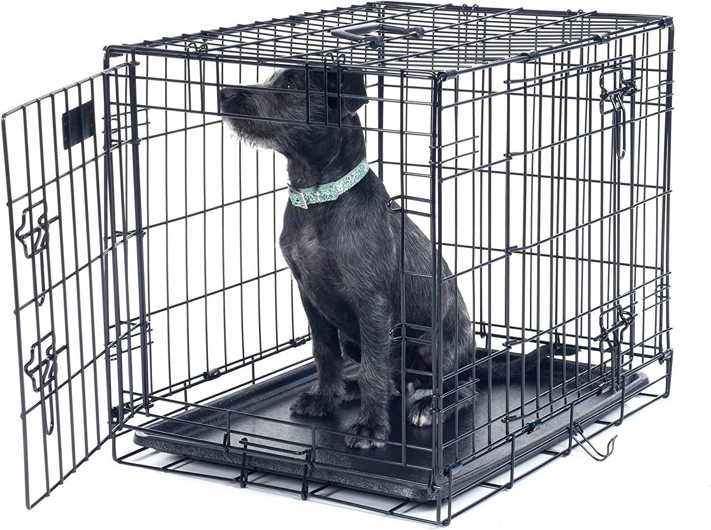 PETMAKER Medium 2 Door Foldable Dog Crate Cage, 30 x 19