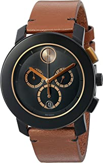 Men's Swiss Quartz Stainless Steel and Leather Watch, Color: Brown (Model: 3600348)
