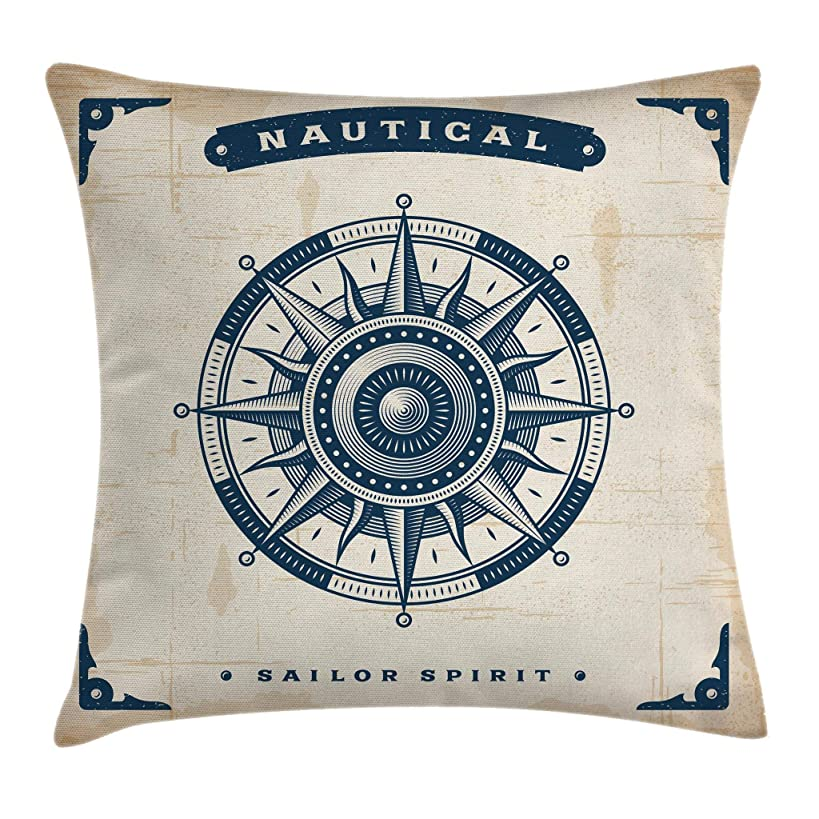 Ambesonne Compass Throw Pillow Cushion Cover, Compass Illustration with Lettering Nautical Ocean Adventure Themed Print, Decorative Square Accent Pillow Case, 18 X 18 Inches, Night Blue Beige