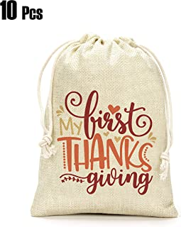 Thanksgiving Day Gifts Bags- My First Thanksgiving Gifts Bags, Thanksgiving Day Decoration, Holiday Supplies- Set of 10