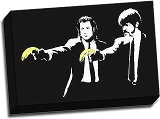 Panther Print Banksy Pulp Fiction Banana Gun Graffiti Canvas Art Print Framed Picture 12X16 Inches 30.5 x 40.6 cm