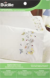 Bucilla Stamped Embroidery Pillow Case Pair, 20 by 30-Inch, 45076 Butterflies In Flight
