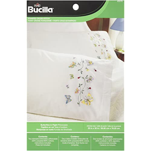 BUCILLA Premium Pillow Cases 2pk for Stamped Embroidery BUTTERFLIES IN FLIGHT