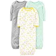 Simple Joys by Carter's Baby 3-Pack Neutral Cotton Sleeper Gown, Gray/Green/Yellow, 0-3 Months