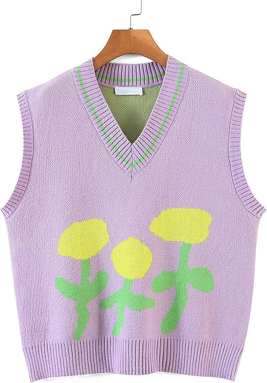Uaneo Womens Knit Printed V Neck Sleeveless Casual Pullover Sweater Vest(Purple-One Size)