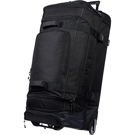 Amazon Basics Ripstop Rolling Travel Luggage Duffle Bag With Wheels 37 5 Inch Black Travel Duffels