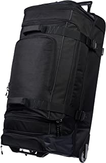 Ripstop Rolling Travel Luggage Duffle Bag With Wheels - 37.5 Inch, Black