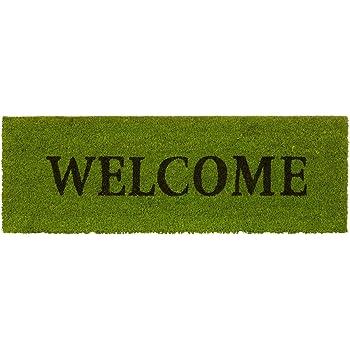Relaxdays 10020176  Paillasson long fibre de coco tapis de sol WELCOME 75x25 dessous caoutchouc antid/érapant porte entr/ée jardin terrasse garage vert