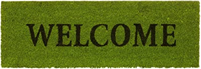 Relaxdays Narrow Coir Doormat Print Anti-Slip Rubber PVC Underside Long Welcome Mat Ideal for The Balcony, Patio, Hallway, Veranda 1.5 x 75 x 50 cm, Green